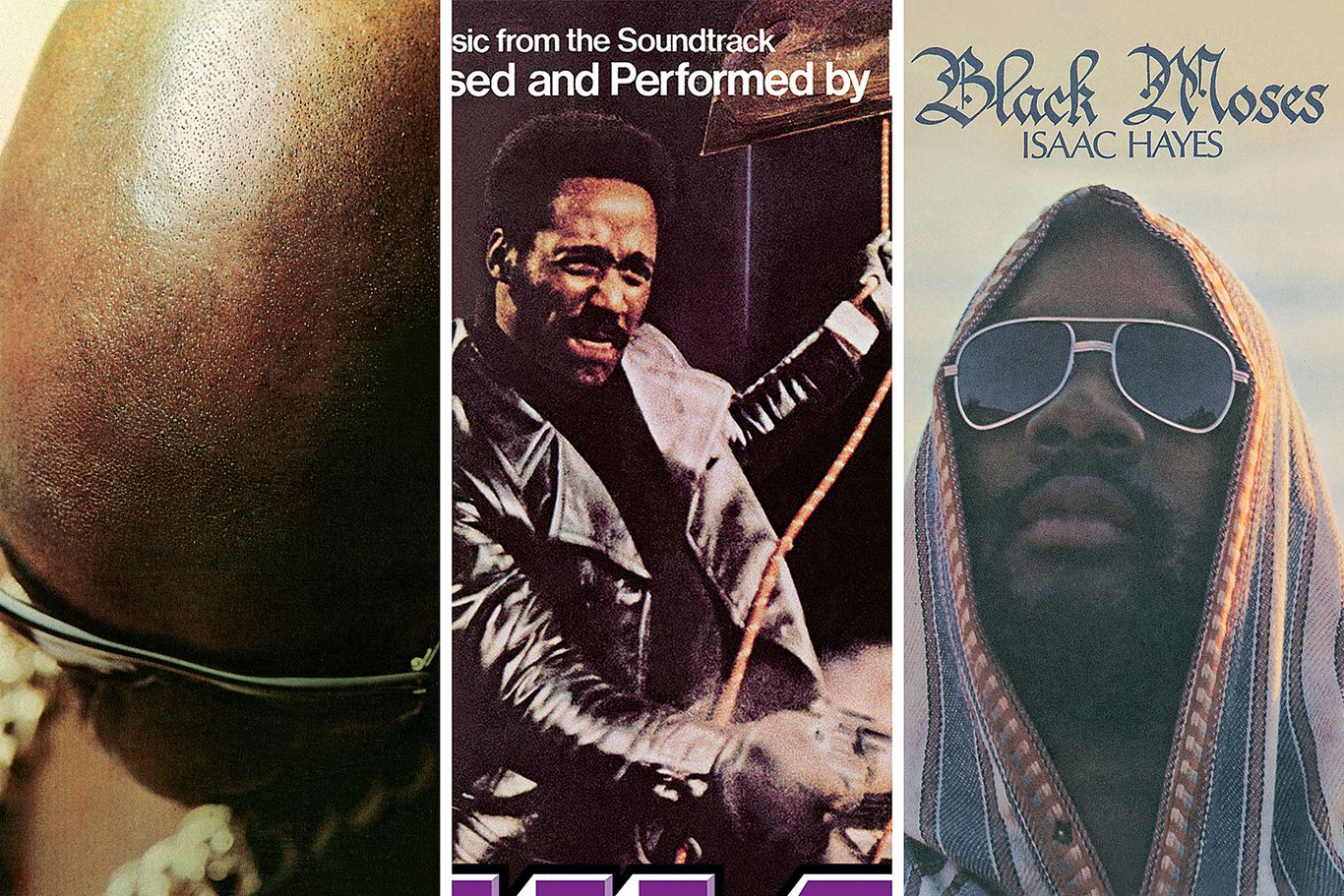 Three iconic releases by Isaac Hayes: Hot Buttered Soul (1969), Shaft (1971) & Black Moses (1971)