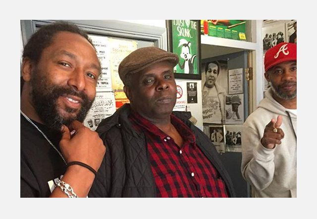 Mikey Don (left), Lloyd 'Pickout' Dennis (centre) & Chris Peckings (right) at Peckings Record Shop, London (UK)