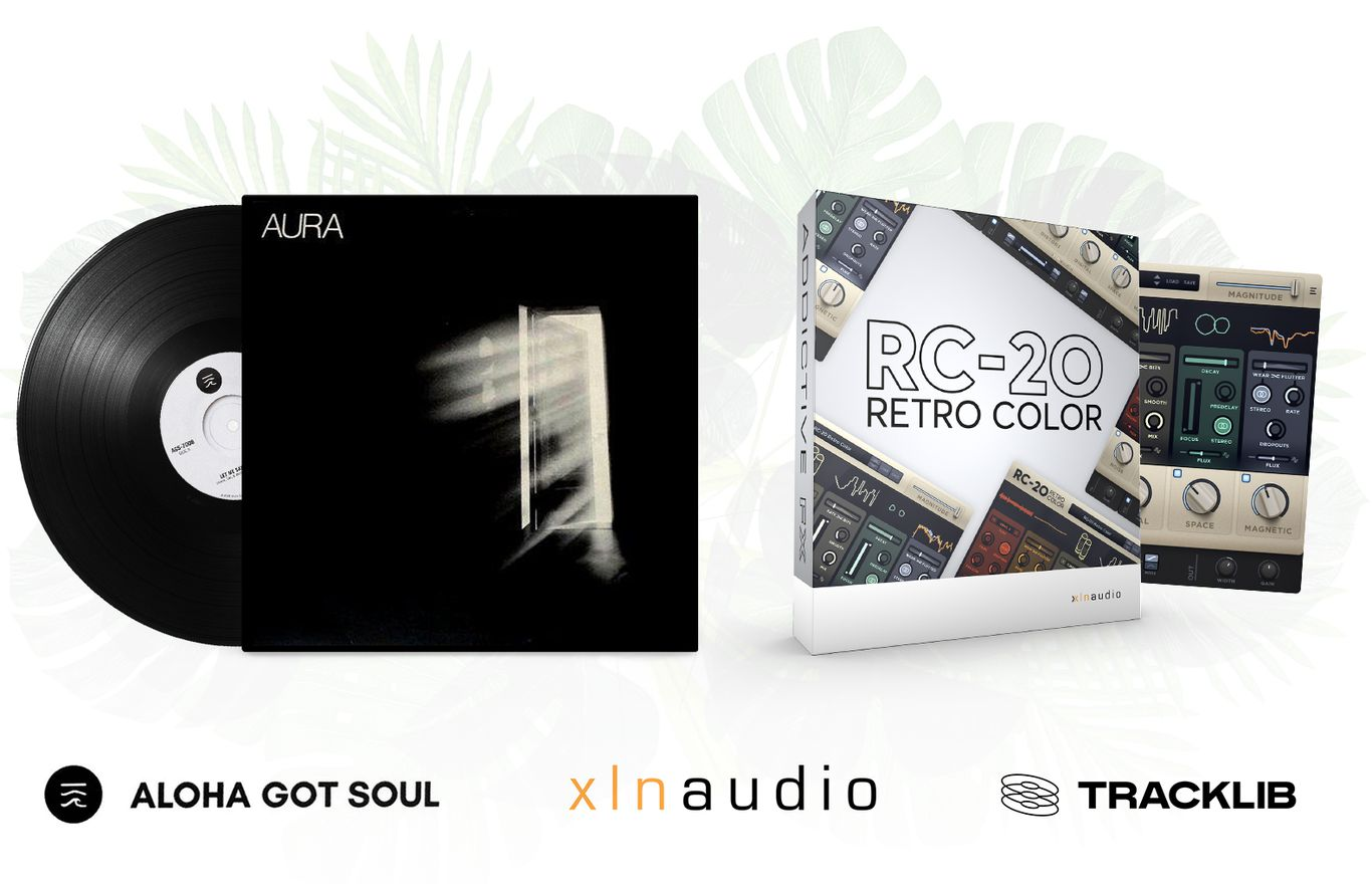Part of each prize package: XLN Audio's 'RC-20 Retro Color VST' (Value: $99) and a vinyl of Aura's self-titled album available to sample from legally (Value: $20)